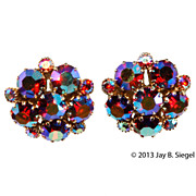Weiss Red Aurora Borealis Rhinestone Earrings
