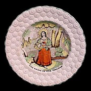 SALE Early Pearlware Transfer Plate ~ Pride of the Village