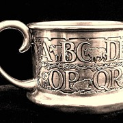 SALE THE BEST Child's Sterling Silver ABC Mug ~ 1880