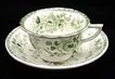Childs Green DRESDEN FLOWERS Transferware 2pc Set c1825