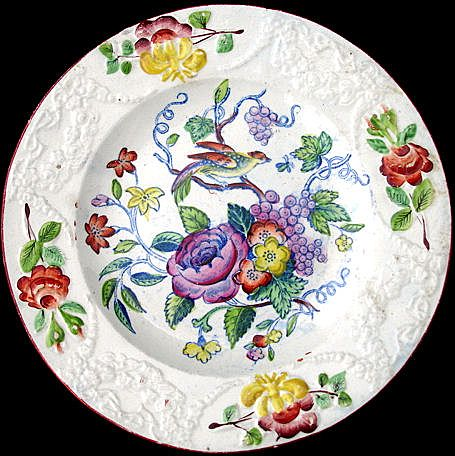 Early Pearlware Plate ~ ORNITHOLOGY Bird Bug Flowers c1810