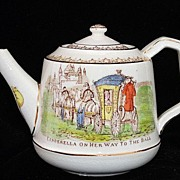 SALE Victorian Childs Brown Transferware Polychrome Teapot ~ CINDERELLA