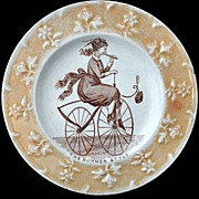 SALE Rare Childs Caricature Plate ~ Velocipede Bicycle Flute
