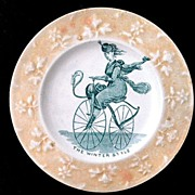 SALE Rare Childs Caricature Plate ~ Lady Velocipede Bicycle