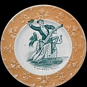 SALE Rare Childs Caricature Plate ~ Velocipede Bicycle Geese