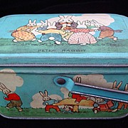 SALE Peter Rabbit Tin Candy Lunch Box 1925