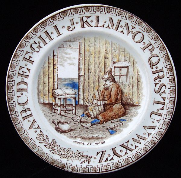 Antique Childs Transferware ABC Plate ~ Crusoe at Work 1880