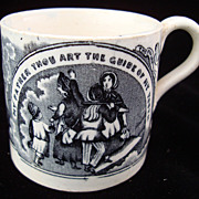 SALE Staffordshire Childs Mug ~ The PAST and PRESENT 1840