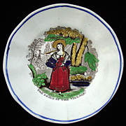 SALE Antique Pearlware Plate ~ PRIDE OF VILLAGE 1840