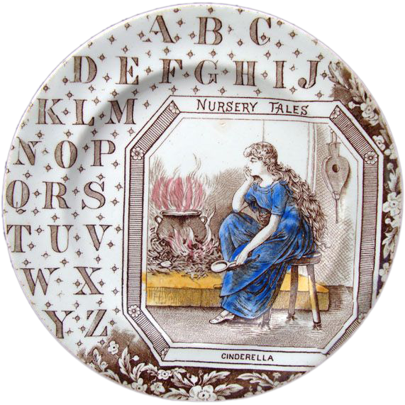 Antique ABC Plate ~ Nursery Tales ~ Cinderella ~ 1880