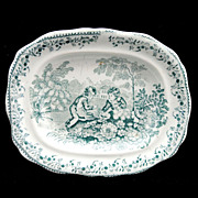 SALE Staffordshire Childs Miniature Dinner Set Platter BIRDS NEST GARDEN SPORTS 1835