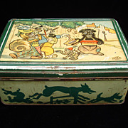 SALE Early Comic Strip Biscuit Tin ~ Begging Dog 1920