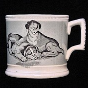 SALE Early Mochaware Transfer Printed Child's Mug ~ Roly Poly Puppies