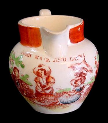 Rare Child's Polychrome Transfer Jug ~ JOHN KATE & LUCY