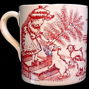 SALE Early Transferware Childs Mug ~ Feeding Puppies