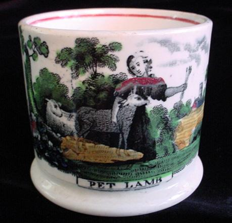Pearlware Child's  Mug ~ PET LAMB 1840