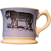 SALE Early Slip Decorated Childs Transferware Mug ~ TIGER Wildebeest