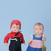 "8"" Effanbee composition 1930s Patsy Baby Tinyette Kit and Kat Doll"