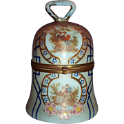 SALE 1900 Hand Painted Opalescent Glass Bell Shaped Casket