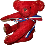 SALE Red Mohair Teddy Bear