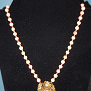 Vintage Angel Skin Coral Necklace With Coral Accented Centerpiece