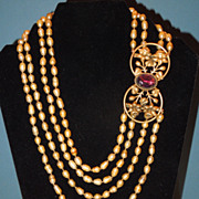 Stunning 4 Strand Gold Baroque Pearl Necklace with Vintage Clasp