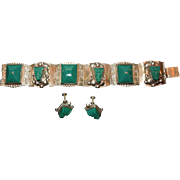 Sterling Silver and Green Stone Bracelet and Earrings Set