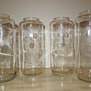 Set of 4 Vintage Catholic Church Candle Jars