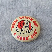 Green Duck Co Elvis Presley Hound Dog Pinback