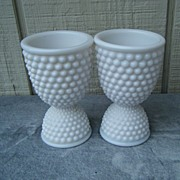 2 Milk Glass American Hobnail Double Egg Cups