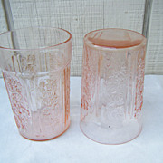 Two Federal Glass Sharon Cabbage Rose Pink Tumblers