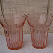 Two Queen Mary Pink Depression Glass Tumblers