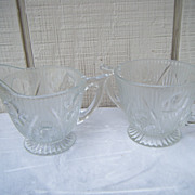 Jeannette Footed Iris and Herringbone Crystal Sugar and Creamer
