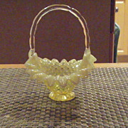 Fenton Hobnail Topaz Opalescent Basket with Handle