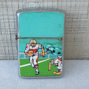 Silver-Toned Metal Lighter with Football Design Japan