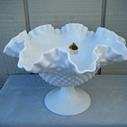 Fenton Hobnail Milk Glass #3731 Footed Bowl