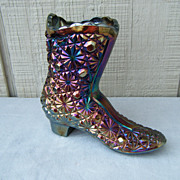 Fenton Misty Blue Satin Iridescent Daisy & Dot Shoe Boot