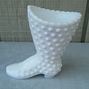 Fenton Milk Glass Hobnail Pattern Boot with Label