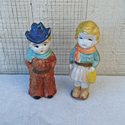 Bisque Cowboy and Cowgirl Figurines Japan