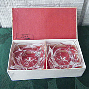 Pair Crystal Candle Holders in Box Czechoslovakia