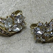 Vintage TRIFARI Rhinestone Clip Back Earrings