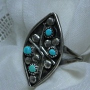 Vintage Native American ZUNI Sterling Silver & Turquoise Ring