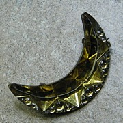 Vintage 1925 Yellow Molded Glass Crescent Brooch