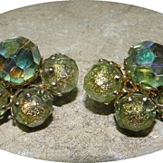 Vintage VOGUE Green Glass Crystal Cluster Earrings