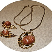 Vintage Gold Stone Necklace and Earrings Set 1950s