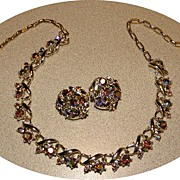 Vintage STAR Rhinestone Necklace & Earrings Set