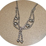 Vintage WEISS Clear Rhinestone Prong Set Necklace