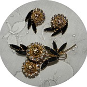 Vintage JULIANA D&E Black Rhinestone & Filigree Ball Brooch & Earrings Set