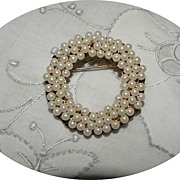 Vintage HOBE Faux Pearl Hand Wired Circle Brooch