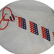 Vintage Fun & Funky Beaded Patriotic Tie Necklace